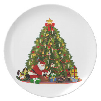 Christmas dad under the fir tree vintage dinner plate