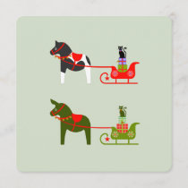 Christmas dala horses with horse-sleigh and cats invitation