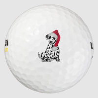 Christmas Dalmatian Dog Golf Balls