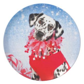 Christmas Dalmatian Melamine Plate