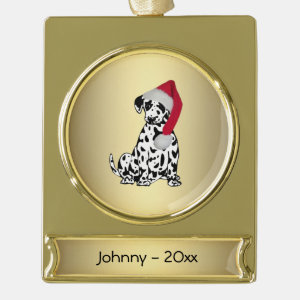 Christmas Dalmatian Personalized Date Gold Plated Banner Ornament