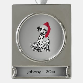 Christmas Dalmatian Personalized Date Silver Plated Banner Ornament