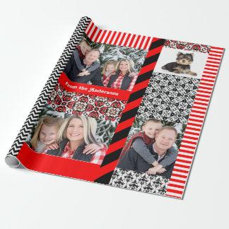 Christmas Damask 5 Big Family Photos Custom Wrapping Paper