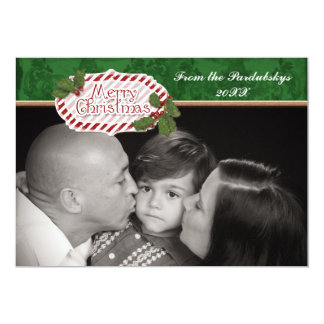 Christmas Damask Candy Cane Striped Holly Card