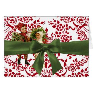 Christmas Damask Note Card