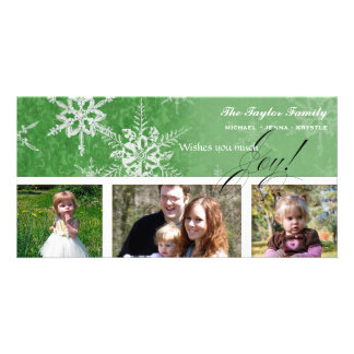 Christmas Damask Snowflake - Bright Green Card Picture Card