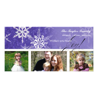 Christmas Damask Snowflake - Royal Purple Card Custom Photo Card
