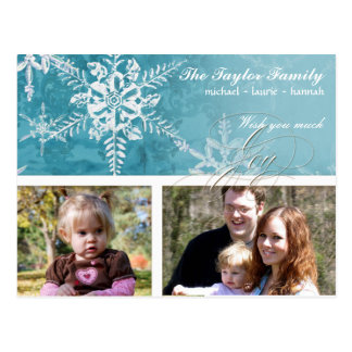 Christmas Damask Snowflake - Winter Aqua n White Postcard