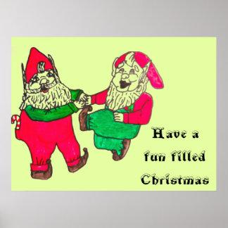 CHRISTMAS DANCING ELVES poster