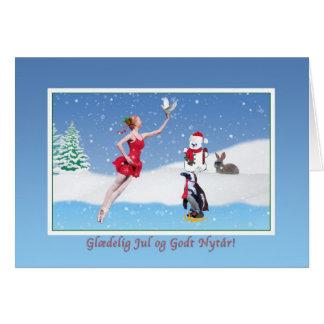 Christmas, Danish,  Glædelig Jul, Ballerina, Snow Greeting Card