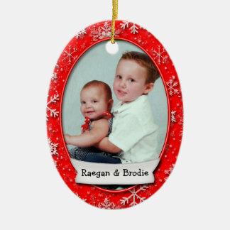 Christmas Dated Photo Red Snowflake • 2 Sided Ceramic Ornament