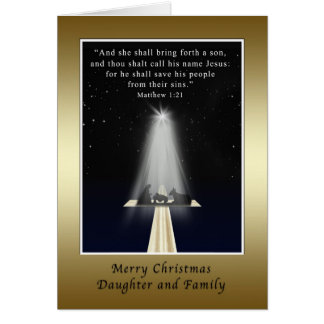 Christmas Daughter and Family Religious Cards