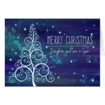 Christmas Daughter & Husband, Bokeh Effect & Tree Card