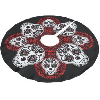 Christmas Day of the Dead theme sugar skulls Brushed Polyester Tree Skirt