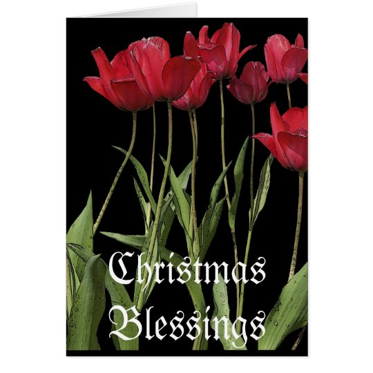 """""""Christmas Day"""" Red Tulips Card & Poem"""