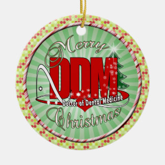 CHRISTMAS DDM Doctor of Dental Medicine Double-Sided Ceramic Round Christmas Ornament