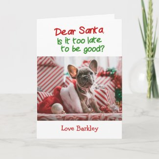 Christmas Dear Santa Is It Too Late To Be Good Holiday Card