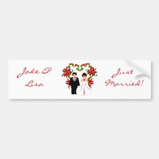 Christmas/December Just Married Bumper Sticker Car Bumper Sticker