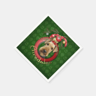 Christmas - Deck the Halls - Airedales Napkin at Zazzle