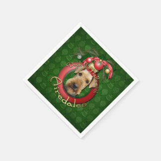Christmas - Deck the Halls - Airedales Standard Cocktail Napkin