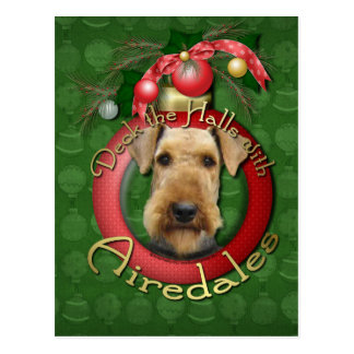 Christmas - Deck the Halls - Airedales Postcard