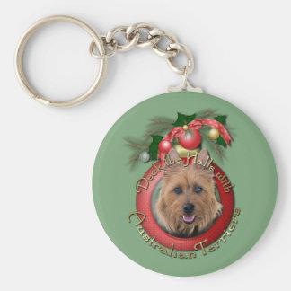 Christmas - Deck the Halls - Australian Terriers Basic Round Button Keychain