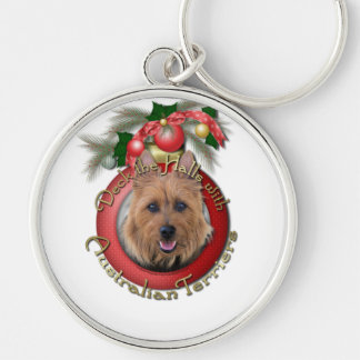 Christmas - Deck the Halls - Australian Terriers Silver-Colored Round Keychain