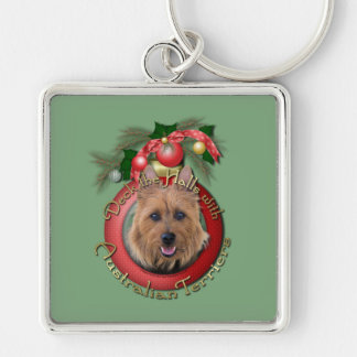 Christmas - Deck the Halls - Australian Terriers Silver-Colored Square Keychain