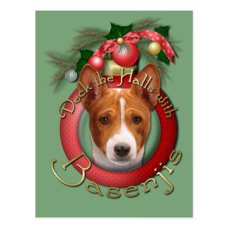 Christmas - Deck the Halls - Basenjis Postcard