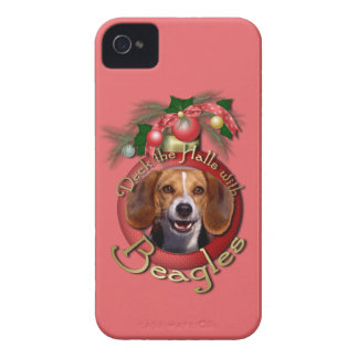 Christmas - Deck the Halls - Beagles iPhone 4 Cases