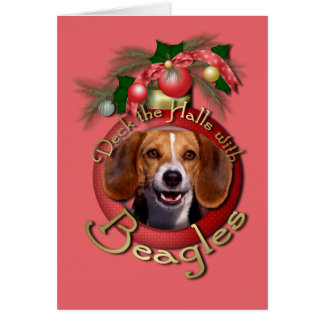 Christmas - Deck the Halls - Beagles Greeting Card