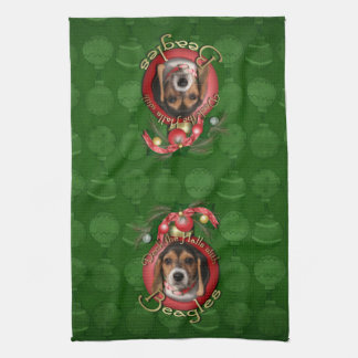 Christmas - Deck the Halls - Beagles Kitchen Towels