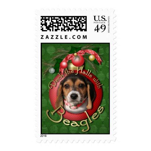 Christmas - Deck the Halls - Beagles Postage Stamp