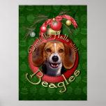 Christmas - Deck the Halls - Beagles Poster