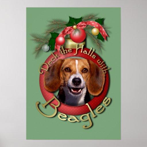 Christmas - Deck the Halls - Beagles Print