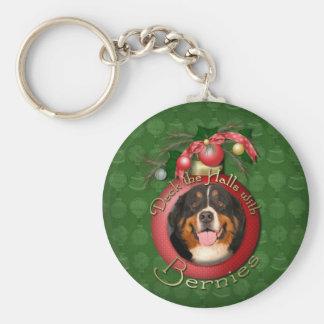 Christmas - Deck the Halls - Bernies Basic Round Button Keychain