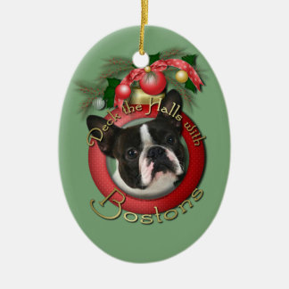 Christmas - Deck the Halls - Bostons Double-Sided Oval Ceramic Christmas Ornament