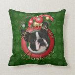 Christmas - Deck the Halls - Bostons Throw Pillows
