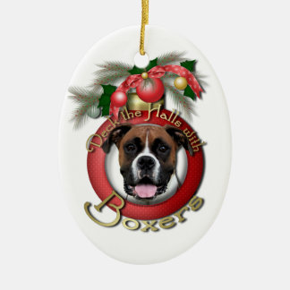 Christmas - Deck the Halls - Boxers - Vindy Double-Sided Oval Ceramic Christmas Ornament