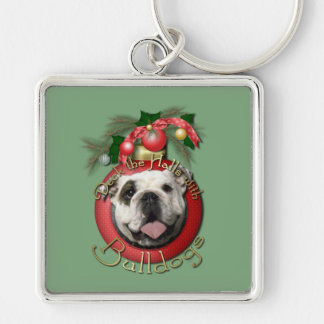 Christmas - Deck the Halls - Bulldogs Silver-Colored Square Keychain