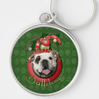 Christmas - Deck the Halls - Bulldogs Silver-Colored Round Keychain