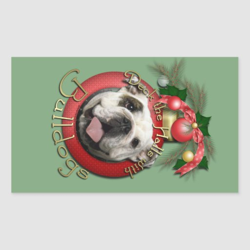 Christmas - Deck the Halls - Bulldogs Rectangular Stickers