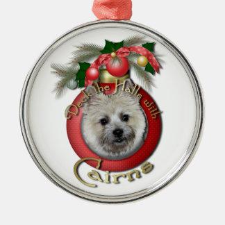 Christmas - Deck the Halls - Cairns - Teddy Bear Round Metal Christmas Ornament