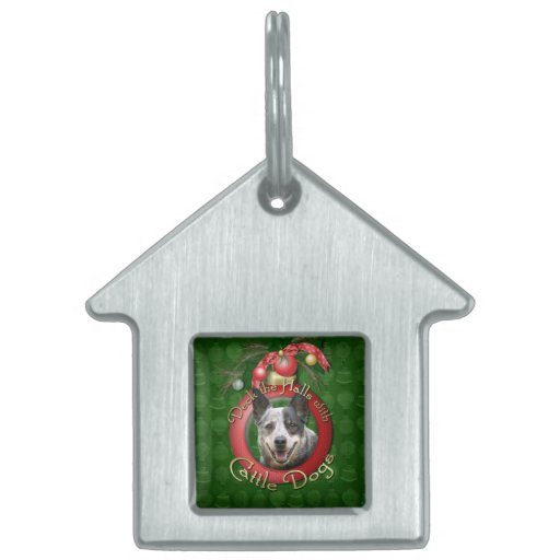 Christmas - Deck the Halls - Cattle Dogs Pet ID Tags