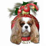 "Christmas - Deck the Halls - Cavaliers - Blenheim Statuette<br><div class=""desc"">Celebrate the Christmas Season with this Deck the Halls design using this Blenheim Cavalier King Charles Spaniel Dog! Dog Portrait is framed within a Christmas Ornament, embellished with evergreen branches and more ornaments. This design is available in 100 dog breeds. If you don&#39;t see your favorite breed or if you&#39;d...</div>"