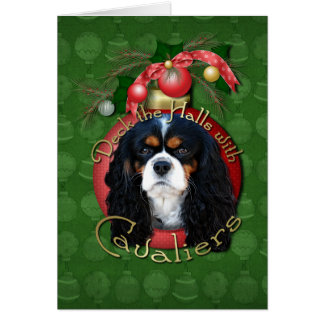 Christmas - Deck the Halls - Cavaliers - Tri-Color Greeting Cards