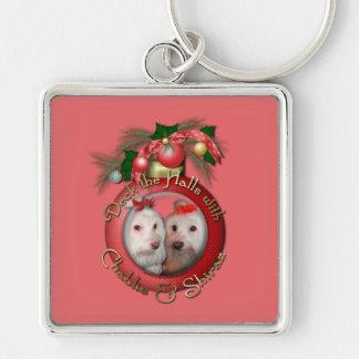 Christmas - Deck the Halls - Chablis & Shiraz Silver-Colored Square Keychain
