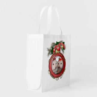 Christmas - Deck the Halls - Chablis & Shiraz Reusable Grocery Bags