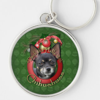 Christmas - Deck the Halls - Chihuahuas - Isabella Silver-Colored Round Keychain