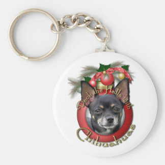 Christmas - Deck the Halls - Chihuahuas - Isabella Basic Round Button Keychain